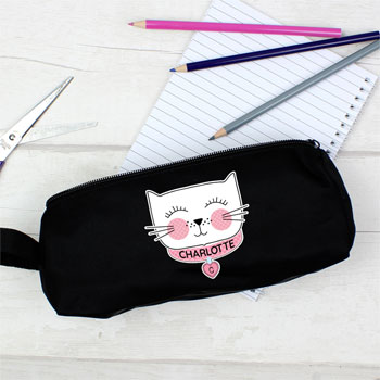 Girl's Personalised Cute Cat Black Pencil Case