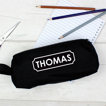 Children's Personalised Black Pencil Case With White Name