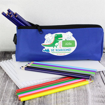 Boy's Personalised Be Roarsome Dinosaur Blue Pencil Case