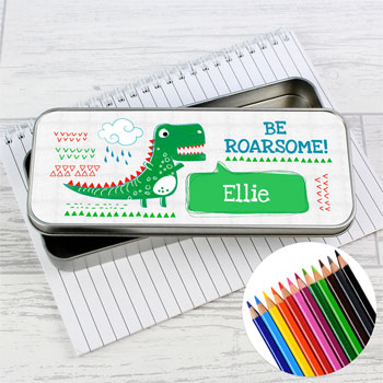 Personalised Be Roarsome Dinosaur Pencil Tin with Pencils