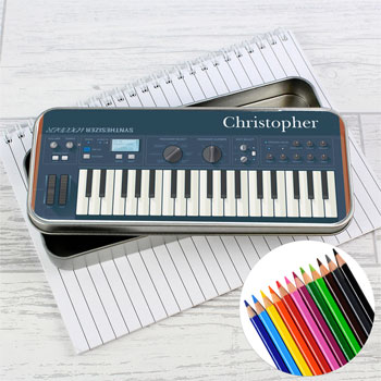 Personalised Keyboard Pencil Tin With Colouring Pencils