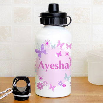 Girl's Personalised Pink & White Butterfly Water Bottle