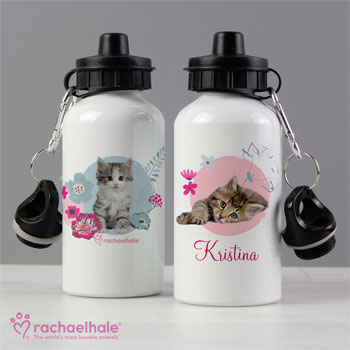Girl's Personalised Rachael Hale Cute Kitten Water Bottle