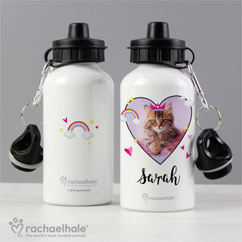 Personalised Rachael Hale Cute Cat Drinks Water Bottle