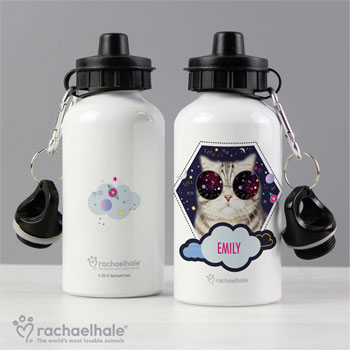 Personalised Rachael Hale Space Cat Drinks Water Bottle