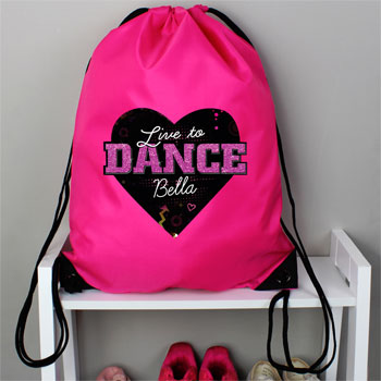 Girl's Personalised Live to Dance Pink Kit Bag