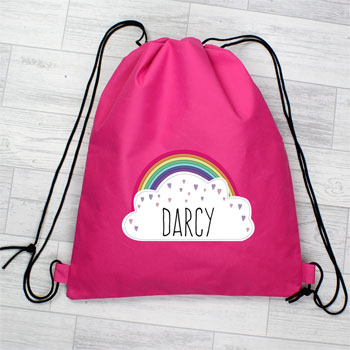 Girl's Personalised Rainbow Pink Waterproof Swim & Kit Bag