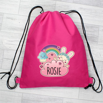 Girl's Personalised Cute Bunny Pink Waterproof Swim Kit Bag