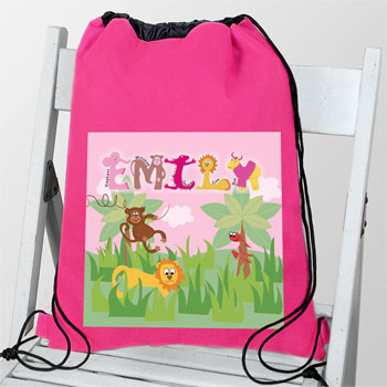 Personalised Pink Animal Alphabet Waterproof Swim & Kit Bag