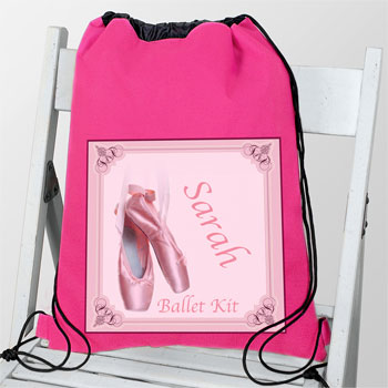 Girl's Personalised Ballet Shoes Dance & School Bag