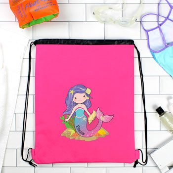 Girl's Waterproof Personalised Mermaid Pink Swim Bag