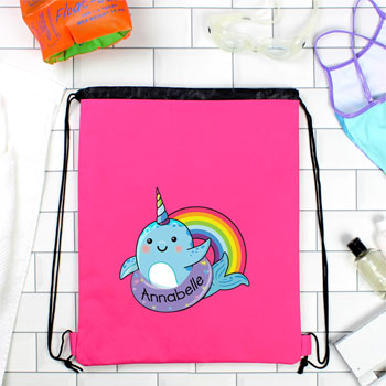 Girl's Personalised Narwhal Pink Waterproof Swim Bag