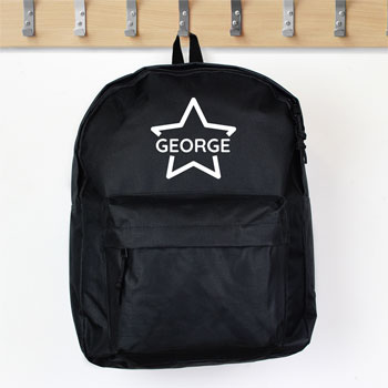Personalised Star Black Backpack School Bag