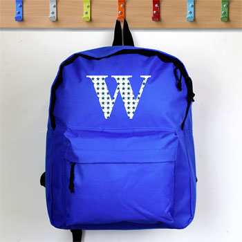 Personalised Star Initial Blue School Backpack