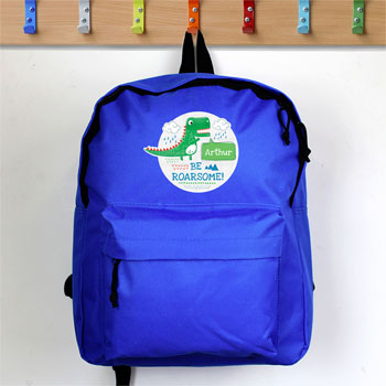 Personalised Be Roarsome Dinosaur Blue Backpack