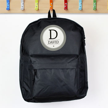 Personalised Star Name Black Backpack School Bag