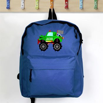 Boy's Personalised Monster Truck Blue Backpack