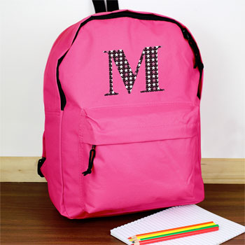 Girl's Personalised Star Initial Pink Backpack School Bag