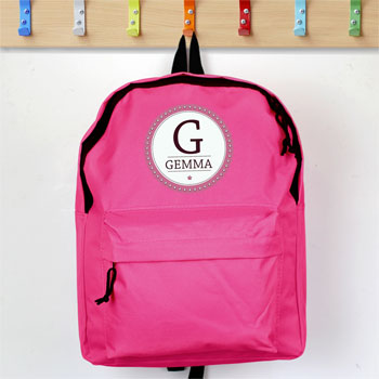 Girl's Personalised Star Name Pink Backpack School Bag