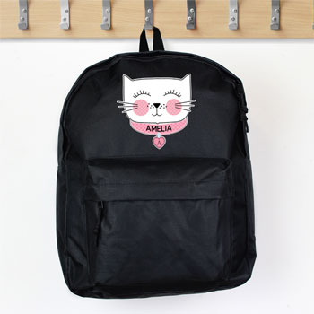 Girl's Personalised Cute Cat Black Backpack School Bag