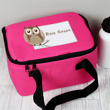 Girl's Pink Personalised Woodland Owl Lunch Bag