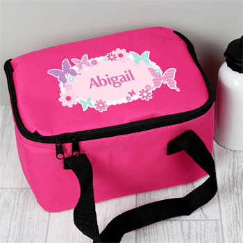 Girl's Personalised Butterfly Pink Lunch Sanwich Bag
