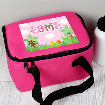 Girl's Personalised Pink Animal Alphabet Lunch Bag