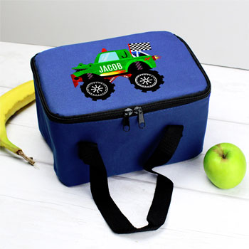 Boy's Personalised Monster Truck Blue Lunch Sandwich Bag