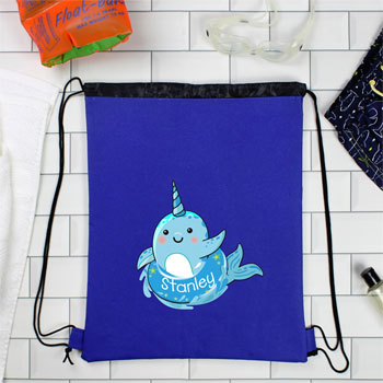 Personalised Narwhal Blue Swim Kit Bag