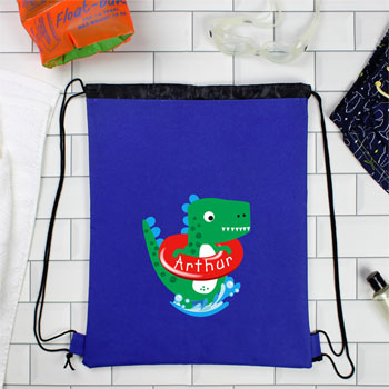 Boy's Personalised Baby Dinosaur Blue Swim Kit Bag