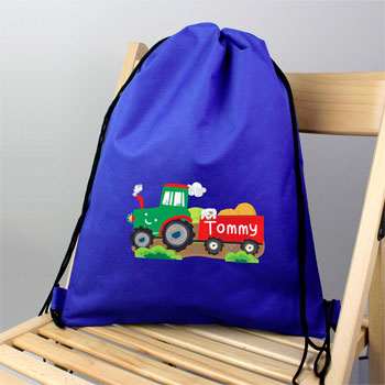 Boy's Personalised Tractor Blue Swim & Kit School Bag