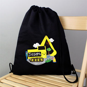Black Personalised Digger School Swim & Kit Bag