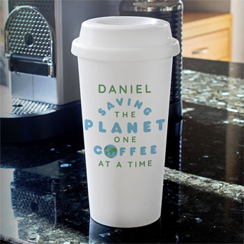 Personalised Saving the Planet Insulated Travel Mug