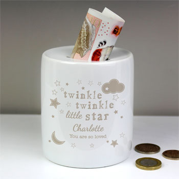 Baby's Personalised Twinkle Twinkle Ceramic Money Box