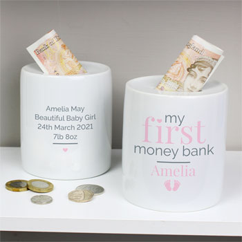 Girl's Personalised Pink My First Ceramic Money Box
