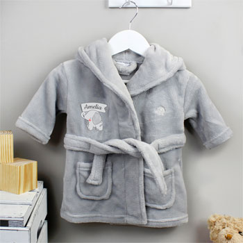 Personalised Elephant 0 to 6 Months Hooded Baby Robe