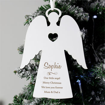 Personalised Message White Wooden Memorial Angel Decoration