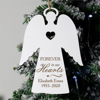 Personalised Forever In Our Hearts White Wooden Angel