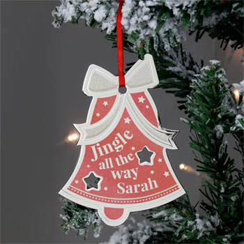 Personalised Jingle All The Way Bell Metal Tree Decoration