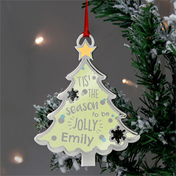 Personalised Tis The Season Xmas Tree Metal Decoration