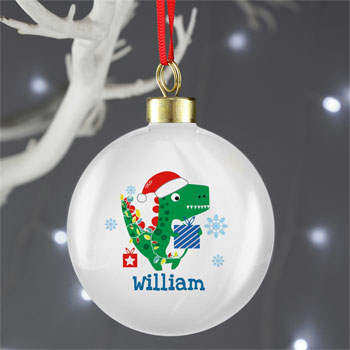 Personalised Dinosaur Have a Roarsome Christmas Bauble
