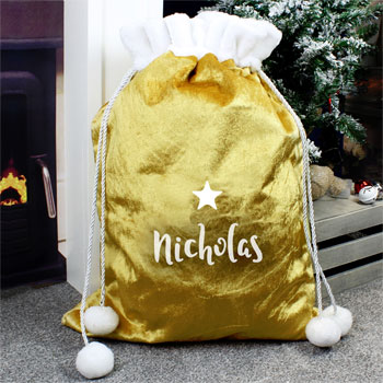 Personalised Name Only Gold Luxury Pom Pom Santa Sack