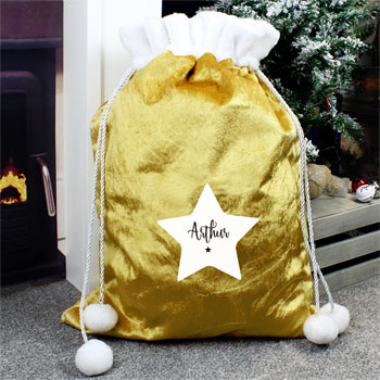Personalised Star Luxury Pom Pom Gold Santa Sack