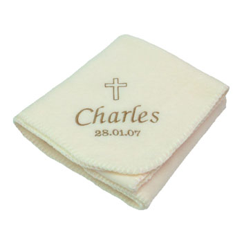 Personalised Cream Christening Embroidered Baby Blanket