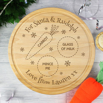 Personalised Wooden Christmas Eve Round Santa's Treats Board
