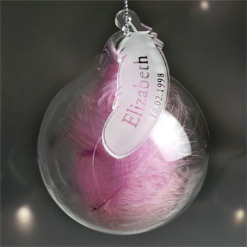 Personalised Name & Date Pink Feather Glass Memorial Bauble