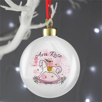 Girl's Personalised Pink Rocking Horse Christmas Bauble