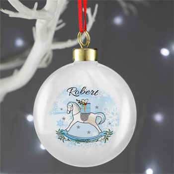 Boy's Personalised Blue Rocking Horse Tree Bauble