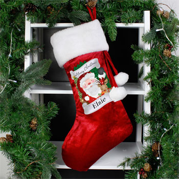 Kid's Personalised Christmas Santa Red Stocking