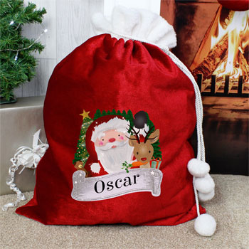 Children's Personalised Red Christmas Santa Sack